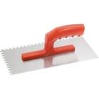 Гладилка стальная, 280 х 130 мм, зеркальная полировка, пластмассовая ручка, зуб 6 х 6 мм MATRIX