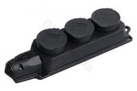 Фото - Розеточная колодка (разъём) 3 гнезда (розетки) соединительная электрическая с заглушками 16А 2P+E каучук IP 44 чёрная переносная Розничная