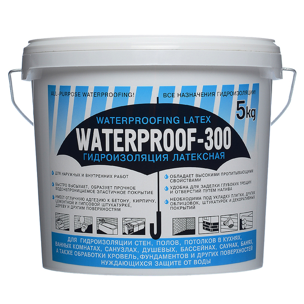 Гидроизоляция латексная waterproof-300 битумная мастика для гидроизоляции кровли применение